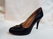 "Nine West ""Rascal"" Black Leather High Heel Mini Platform Pump Womens 11 M New"