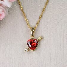N1 18K Gold Filled Ruby Red Crystal Cupid Heart Necklace & Pendant - Gift boxed