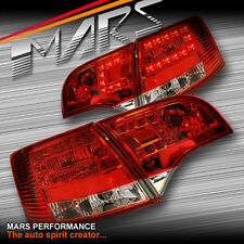 Clear Red LED Tail Lights Taillight AUDI A4 S4 RS4 S-Line B7 AVANT Sports Wagon