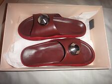 Christopher Kane Brown Leather Giant Crystal Pool Sliders Sandals Size 6/7