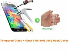 Ultrathin Transparent Soft Jelly Back Case Cover +Tempered Glass For LG G2 D802