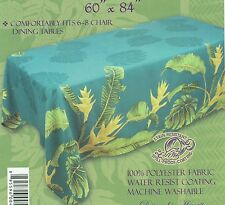 Hawaiian Quilt Print Water Resist Hawaii Tablecloth 60x84 Teal