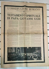 L'OSSERVATORE ROMANO @ TESTAMENTO SPIRITUALE DI PAPA GIOVANNI XXIII@ R@RISSIMO