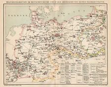 B6183 Deutschen Reich - Military dislocation - Carta geografica 1901 - Old map