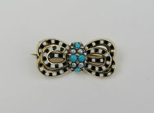 Art Deco enamel and turquoise bow bar brooch