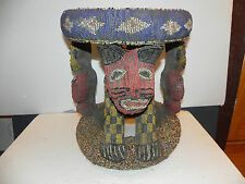 "Arts of Africa - Bamileke Beaded Table- Stool - Cameroon - 17"" Height x 15"" Wide"