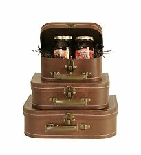 Vintage Suitcases Luggage Travel Set Antique Trunk Chest Box Bag Storage 3 Sets