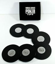 6 Drink Coaster WORLD SERIES OF POKER Boxed Set Black Chip Collectible Gift WSOP