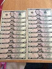 Crisp brand New U.S. dollar/dollars Note Notes $5 Notes (=$100) Tips Tolls (002)