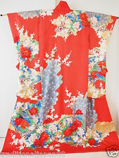 Vintage Japanese Silk Kimono Dress Robe Wedding KAKESHITA, Peacock, Red F/S K553