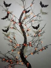 "HALLOWEEN LIGHTED LARGE 66"" 3D FLYING BATS SPOOKY TREE YARD DECORATION PROP 5.5'"