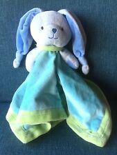 My First Snuggle Buddy Blue Bunny Racing Car Rattle Security Blanket