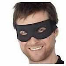Mens Adult Black Bandit Highwayman Cops & Robbers Zorro Mask Stag Party New