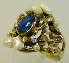 18 CT OPAL, RIVER PEARL SEED PEARL & DIAMOND DOUBLET RING C.N.HAMILTON C.1977
