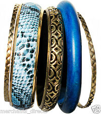Ladies, Girls 5 Pc Bracelet Bangle Set - 1 Navy Wood, 1 Snake Print Blue, 3 Gold
