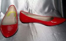 Boden Red Patent All Leather Shoe Ballerina Pump Pointed Lined Sole size 39 6