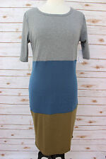 L - Large LuLaRoe JULIA DRESS Beautiful Gray Blue & Army Green NWT