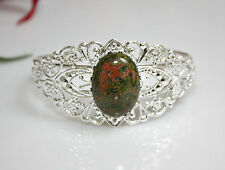 Unakite Stone Filigree Bracelet Silverplated Bangle Victorian Style Holday Gift