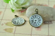 12pcs Clock Charm Pendant Antique Bronze Necklace Accessory Steampunk Punk Craft