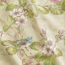 "LINEN COTTON HOME DECOR CURTAIN UPHOLSTERY FABRIC VINTAGE GARDEN BIRDS MINT 54""W"
