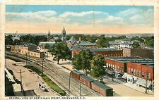 South Carolina, SC, Greenwood, Gen View of North Main Street 1920's Postcard