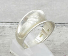 925 STERLING SILVER VINTAGE ANTIQUE FINISH CONCAVE BAND RING 5g - Sz 9