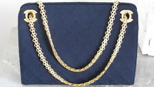 CHANEL AUTHENTICATED Vintage Handbag Mademoiselle Gold Chain Quilted Bag RARE