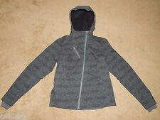 COLUMBIA Womens M Gray/Black Hooded Softshell Jacket Water Resistant -Thumbholes