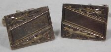 Vtg Etched Sterling Silver Mexico Engravable DESIGNER SIGN Cufflinks Cuff Links