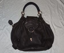 Cole Haan Shoulder Handbag Dark Brown Tassel Textured Stitched Soft Leather Big