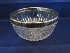 Leonard Crystal Italy Nut Bowl with Silver Plate Rim Starburst pattern