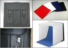 NEW MAXI PHOTO STUDIO 60CM X 60CM LIGHT TENT + WHITE BLACK RED & BLUE BACKCLOTHS