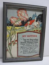MOTHER MOTTO ROBINSON BROS. 1935 PRINT FRAMED WITH GLASS