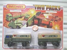 Lesney Matchbox 1975 TP15A MILITARY Truck + Trailer Two Pack Mint in Sealed Pack