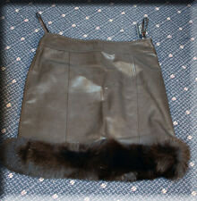 New Brown Lambskin Leather Skirt Brown Fox Fur Trim Efurs4less