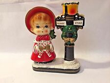"Vtg MCM ""Merry Xmas"" BLUME Girl Christmas Caroler Candle Holder JAPAN Candy Cane"