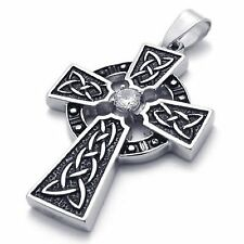 MENDINO Men's Women's Stainless Steel Pendant Necklace Irish Knot Celtic Cross