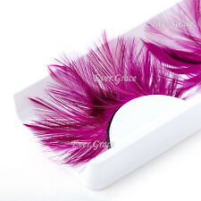 Makeup Rose Red Long False Feather Eyelashes Soft Fancy Eye Lash Party Halloween