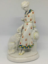 RARE!!! KATZHÜTTE, HERTWIG Porzellan Porcelain Lady with borzoi dog ART DECO