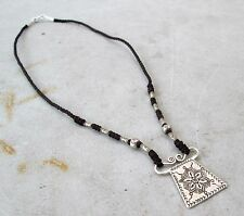POSITIVE ENERGY! Hmong Hill Tribe 925 Silver & Hemp Spirit Lock Amulet Necklace