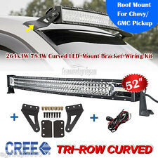 Tri Row 52inch Curved 783W LED Light Bar + Mounting Brackets Fit For GMC Pickup