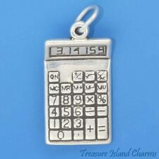 MATH CALCULATOR with PI NUMBER SCHOOL 3D .925 Solid Sterling Silver Charm
