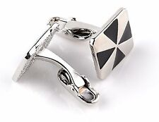 Gift Bag + Nice Silver Plated Vintage cuff links Square Cufflinks Black SQR04