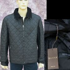 GUCCI New sz 56 - 46 Authentic Designer Leather Mens Coat Jacket Quilted Black