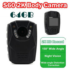 1296P Body Personal Security &Police Camera Night Vision 6-hour Record 64GB DVR