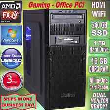 AMD FX 8350 4.2Ghz 8-Core Gaming Office Desktop PC~16 GB DDR3~240GB SSD~Win7 Pro