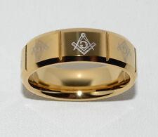 Masonic Freimaurer Ring Tungsten Carbide 24 k vergoldet 19,20,21,22mm