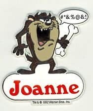 Tazmanian Devil Name Magnet ~ Joanne ~Looney Tunes Collectible~Stocking Stuffer