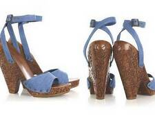$1100  NEW Stella McCartney Denim Carved  Wood  Sandal 38.5