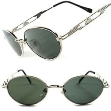 Silver Frame Vintage Retro Old Fashioned Mens Womens Oval Round Sunglasses C64